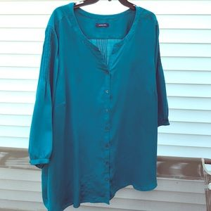Lands End teal blouse pintuck